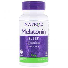 Natrol, Мелатонин, медленное высвобождение, 1 мг, 90 таблеток