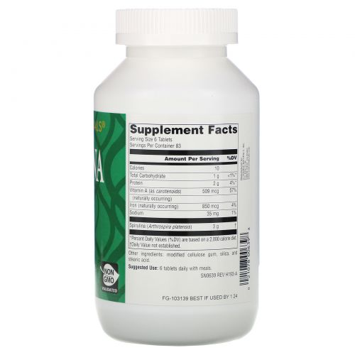 Source Naturals, Спирулина, 500 мг, 500 таблеток