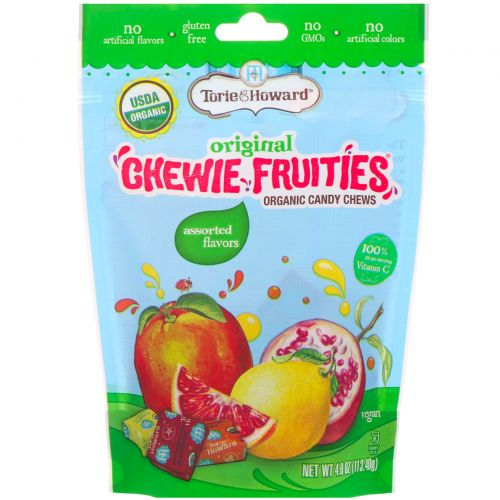 Torie & Howard, Органические, жевательные фруктовые конфеты, вкус в ассортименте, 4 унц. (113,4 г)