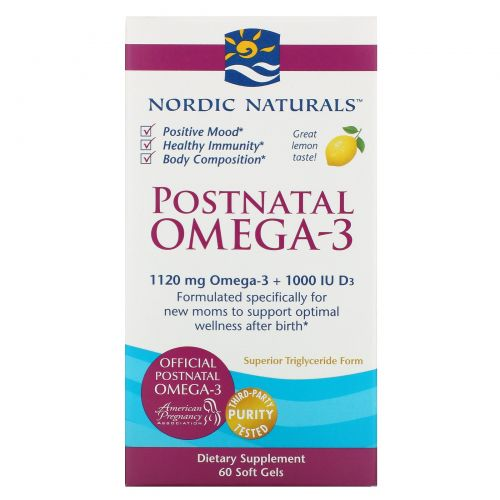 Nordic Naturals, Postnatal Omega-3, Lemon, 650 mg, 60 Soft Gels