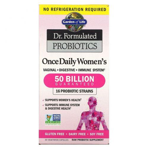 Garden of Life, Разработанные доктором пробиотики, витаминный комплекс Once Daily Women's, 30 вегетарианский капсул