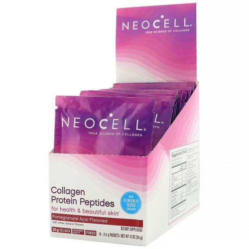 Neocell, Пептиды коллагенового белка, гранат и асаи, 16пакетиков, 21г (0,75унции) в каждом