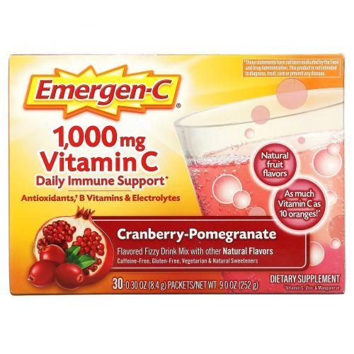 Emergen-C, 1000 мг витамина С  со вкусом клюквы и граната, 30 пакетов по 8,3 г каждый