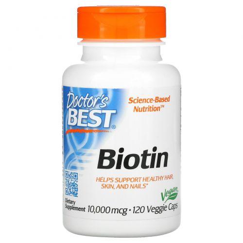 Doctor's Best, Best Biotin, 10,000mcg, 120 Veggie Caps