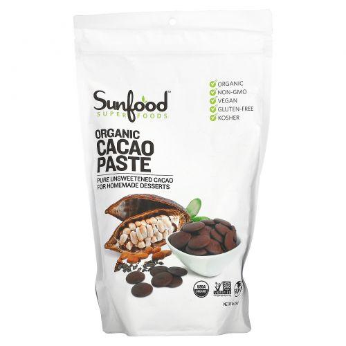 Sunfood, Органический продукт, Сырая какао-паста, 1 фунт (454 г)