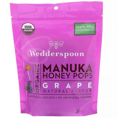 Wedderspoon, Леденцы из органического меда манука для детей, виноград, 24 шт., 4,15 унц. (130 г)