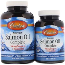 Carlson Labs, Лососевое масло холодного отжима, 1250 мг, 120 желатиновых капсул + 60 капсул бесплатно