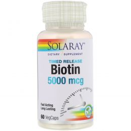 Solaray, Биотин, 5000 мкг, 60 вегетарианских капсул