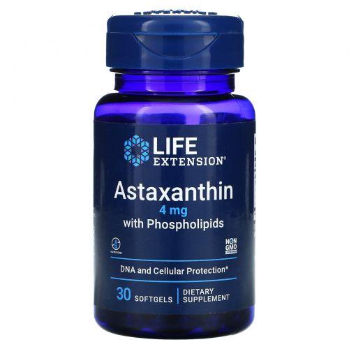 Life Extension, Астаксантин с фосфолипидами, 4 мг, 30 мягких капсул