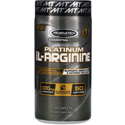 Muscletech, Platinum 100% L-Arginine, 1,000 mg, 100 Caplets