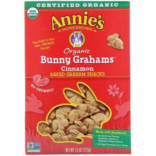Annie's Homegrown, Bunny Grahams, Крекер с Корицей 7.5 унции (213 г)