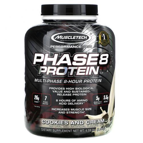 Muscletech, Совершенная серия, Фаза8, Мультифазный 8-часовой протеин, печенье и крем, 4.60 lbs (2.09 кг)