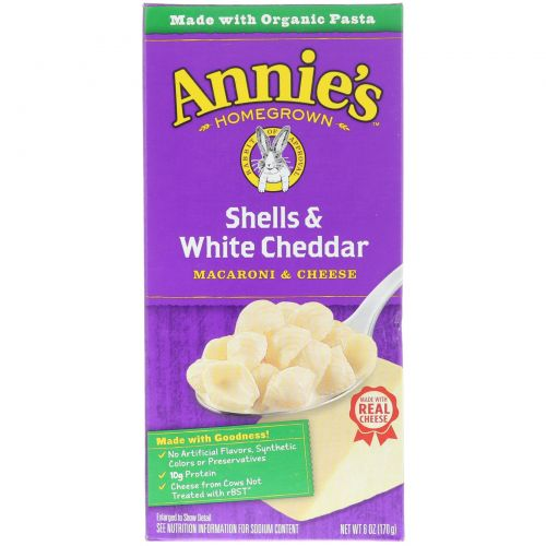 Annie's Homegrown, Ракушки и белый чеддер, Макароны с сыром, 6унций (170г)