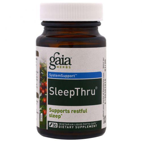Gaia Herbs, SleepThru, 30 вегетарианских жидких фито-капсул