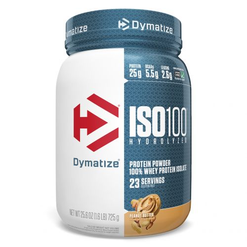 Dymatize Nutrition, ISO 100 Hydrolyzed, 100% изолят сывороточного протеина, арахисовое масло, 25,6 унций (725 г)
