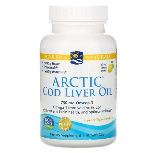 Nordic Naturals, Масло печени арктической трески, лимон, 1000 мг, 90 мягких желатиновых капсул
