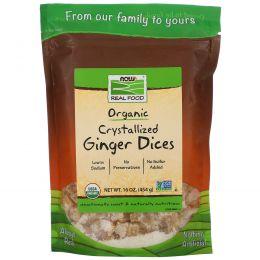 Now Foods, Настоящая пища, засахаренные кусочки имбиря, 16 унций (454 г)