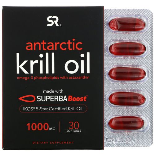 Sports Research, SUPERBA Boost Antarctic Krill Oil with Astaxanthin, 1,000 mg, 30 Softgels