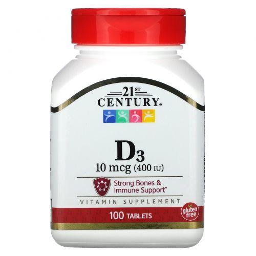 21st Century, D3, 400 МЕ, 100 таблеток
