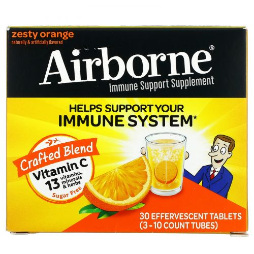 AirBorne, Original, Immune Support, Blast of Vitamin C, Zesty Orange, 3 Tubes, 10 Effervescent Tablets Each