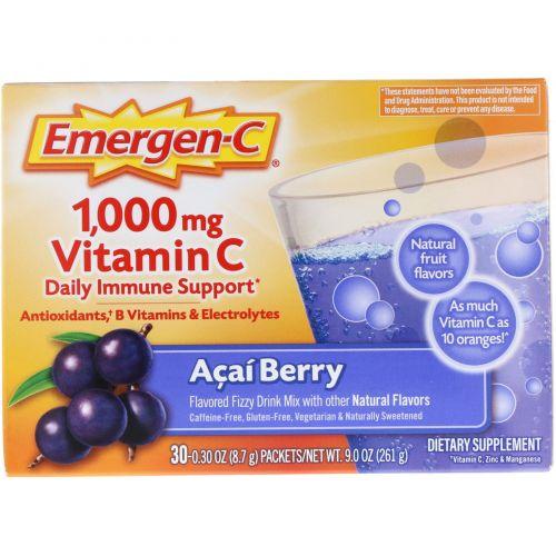 Emergen-C, 1000 мг, Витамин C, Ягоды асаи, 30 пакетиков по 8.4 г каждый
