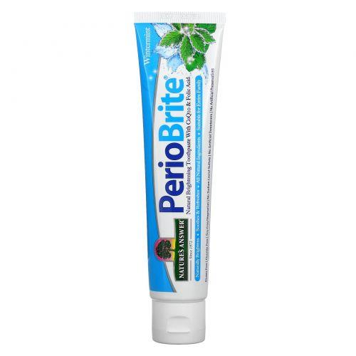 Nature's Answer, PerioBrite, натуральная отбеливающая зубная паста с коэнзимом Q10 и фолиевой кислотой, освежающая мята, 4 жидких унции (113,4 г)