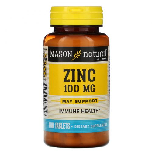Mason Naturals, Цинк, 100 мг, 100 таблеток