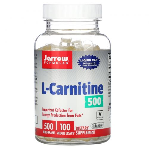 Jarrow Formulas, L-карнитин, 500 мг, 100 капсул с жидкостью