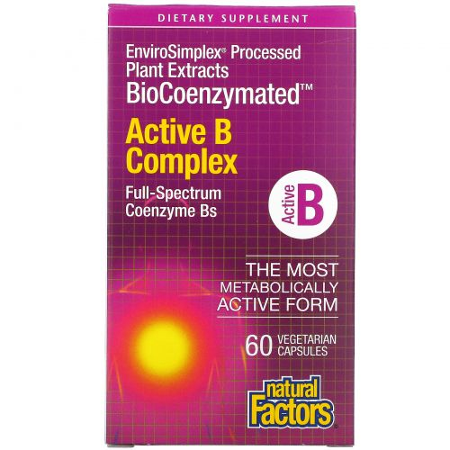 Natural Factors, BioCoenzymated, Active B Complex, 60 Vegetarian Capsules