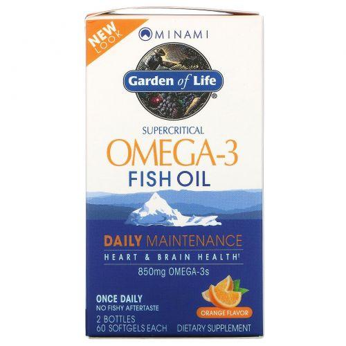 Minami Nutrition, Минами, сверхкритический рыбий жир Омега-3, апельсиновый вкус, 850 мг, 2 флакона, 60 мягких желатиновых капсул