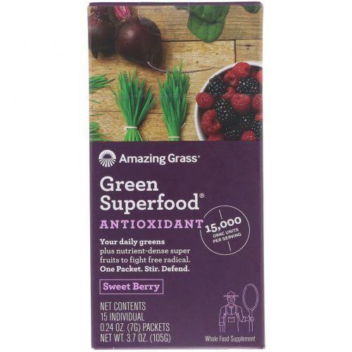 Amazing Grass, Зеленый суперпродукт, антиоксидант, сладкая ягода, 15 пакетиков в индивидуальной упаковке весом по 7 г (0.24 oz)
