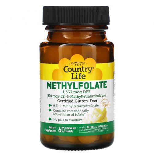 Country Life, Комплекс Метилфолат с апельсиновым вкусом, 800 мкг, 60 растворимых таблеток