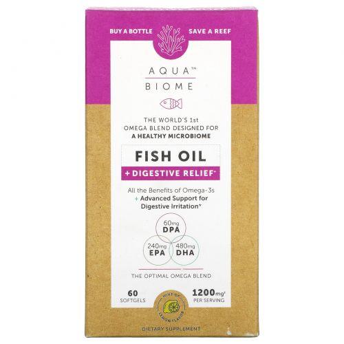 Enzymedica, Aqua Biome, рыбий жир + здоровье кишечника, лимонный вкус, 60 гелевых капсул