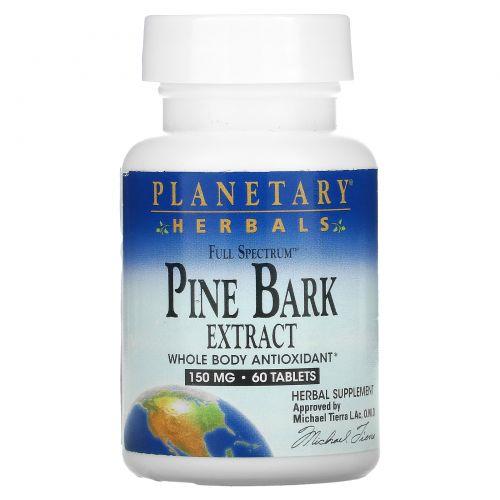 Planetary Herbals, Экстракт коры сосны полного спектра действия, 150 мг, 60 таблеток
