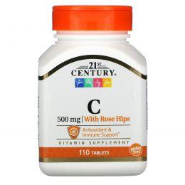 21st Century, Натуральный C-500 с шиповником, 110 таблеток