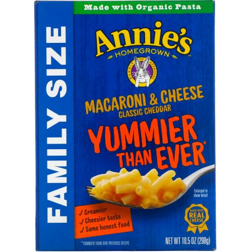 Annie's Homegrown, Макароны с сыром, Экономичная упаковка, 10,5 унций (298 г)