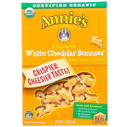 Annie's Homegrown, Запеченные крекеры с белым сыром чеддер, в форме кроликов, 7,5 унций (213 г)