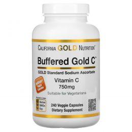 California Gold Nutrition, Buffered Gold C, Non-Acidic Vitamin C, 750 mg, 240 Растительная капсула