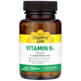 Country Life, Витамин K1, 100 мкг, 100 таблеток