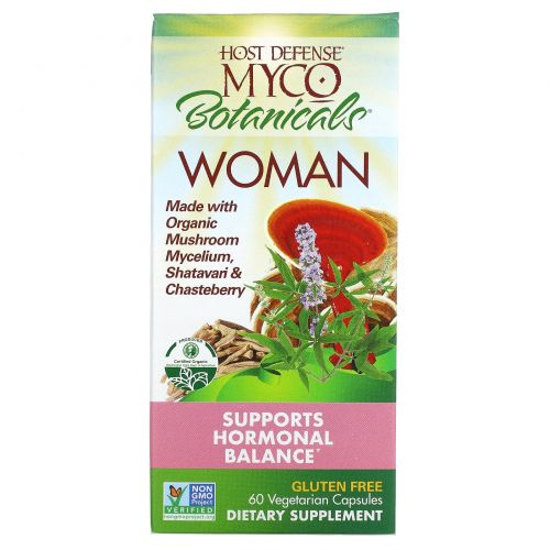 Fungi Perfecti, Host Defense, MycoBotanicals Woman, Supports hormonal Balance, 60 Veggie Caps