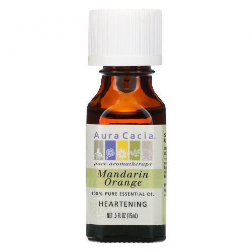 Aura Cacia, 100% чистое эфирное масло мандарина для хорошего настроения, 0.5 жидкой унции (15 мл)