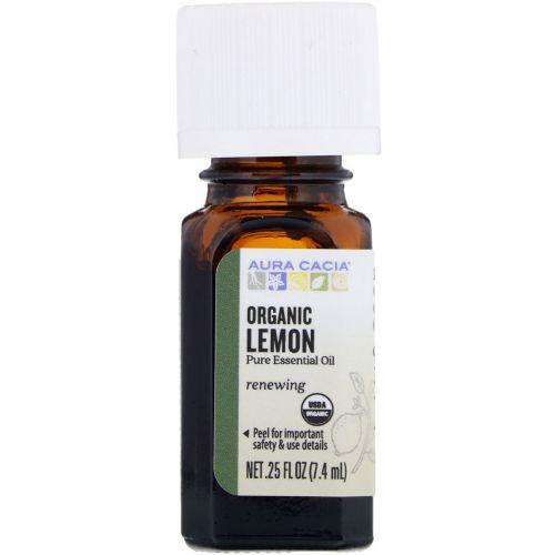 Aura Cacia, Organic, Лимон, масло .25 жидких унции (7.4 мл)