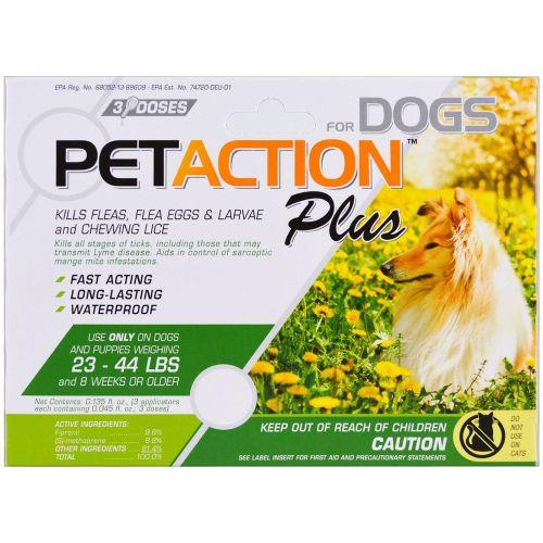 Pet Action Plus, For Medium Dogs, 3 Doses- 0.045 fl oz