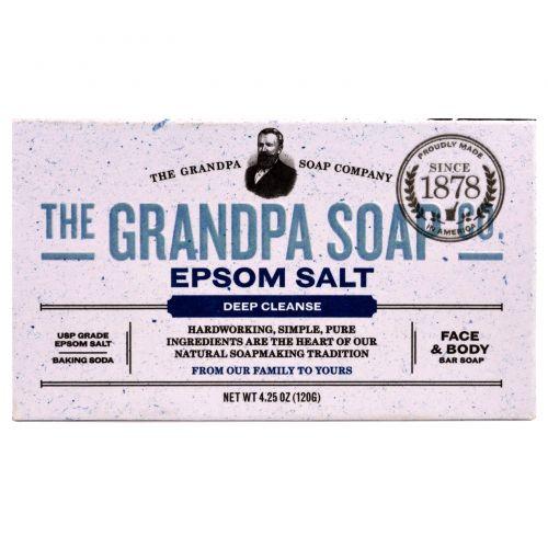 Grandpa's, Кусковое мыло для лица и для тела, глубоко очищает, с английской солью, 4,25 унции (120г)