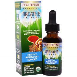 Fungi Perfecti, Host Defense Mushrooms, экстракт из органических грибов для очищения органов дыхания и поддержки здоровья респираторной системы, 1 жидкая унция (30 мл)
