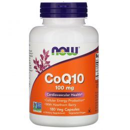 Now Foods, CoQ10, 100 мг, 180 капсул