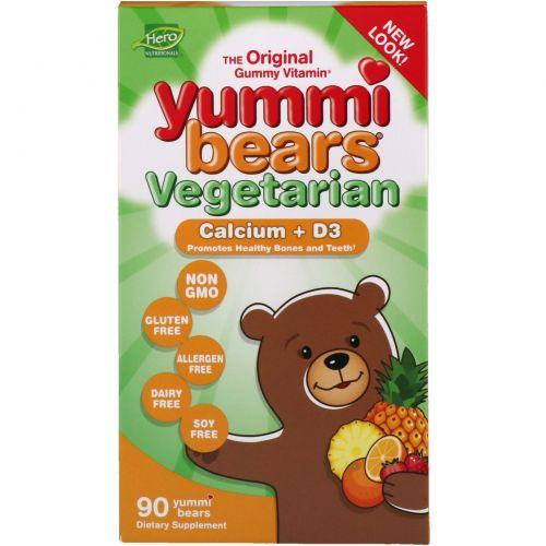 Hero Nutritional Products, Yummi Bears, кальций + витамин D3, вегетарианские, кислые, 90 жевательных медвежат