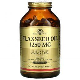 Solgar, Льняное масло, 1250 мг, 250 гелевых капсул