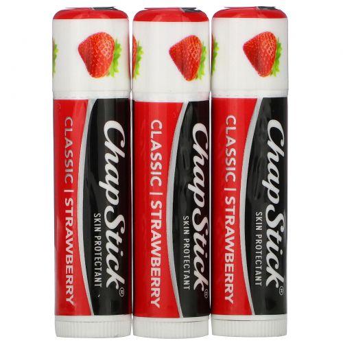 Chapstick, Защитный бальзам для губ, «Классическая клубника», 3 тюбика по 4г