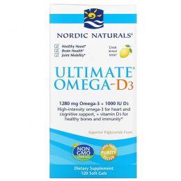 Nordic Naturals, Ultimate Omega-D3, с лимоном, 1000 мг, 120 гелевых капсул